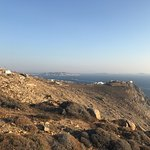 looking back at town and Delos