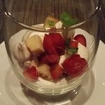 Strawberry Trifle - fresh Ontario strawberries with lemon cake and meringue. Small and sweet!