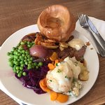 Roast beef with massive Yorkshire pudding!