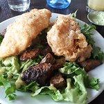 Cod, green salad, roasted potatoes, lemon and dill dip