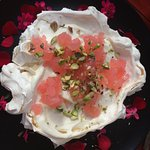 Pavlova with homemade Turkish delight and Pistachio nuts