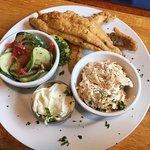 Sweet Onion Catfish (3 pcs), slaw, salad