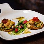 Bruschetta with zucchini and baby shrimps