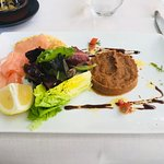Entrée of salmon and eggplant caviar