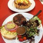 Floyd's Diner Black Bean Veggie Burger ($14) + The Herb Hudson Chicken Waffle ($16.50)