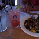 Drinks and fried brussel sprouts