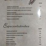 Carta de ensaladas y especialidades