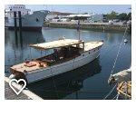 Beautiful powerboat at the museum docks