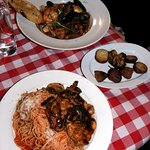 Chicken Marsala with pasta, roasted veg, and Zarzuela - seafood stew