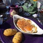 soft baked eggs with garden fresh zucchini