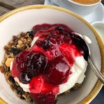 Homemade granola, yoghurt and fruit compote. Delicious!!