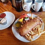 Fish and Chips with lobster tail