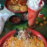 Bean Burrito, Fish Plate, and Virgin Strawberry Daquiri