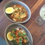 Chili Garlic Shrimp and Grouper Cheeks with Chorizo