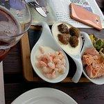 Scottish sample, salmon, haggis & black pudding balls, prawnsto share