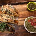 Shrimp, fish, cane tacos