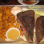 Reuben Sandwich with sweet potato chips