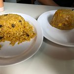 yellow rice with beans and mofongo de platano