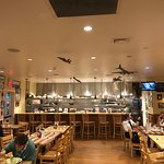 Interior, bar seating, cool model airplanes hanging from ceiling