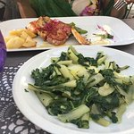 Grilled fish and mixed salads