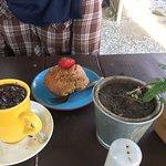 Strawberry muffin & hot chocolate