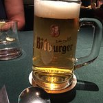 A Bitburger Bright, served cold