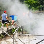 This is Furnas (hot springs and volcanic steam where Maria cooks your meal)