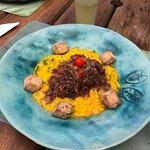 Arroz de zucchinni com carne seca salteada