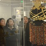 The headdress and jewelry of Queen Puabi is on display in the new Middle East Galleries.