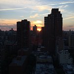 Sunset view from our 28th floor balcony looking down 94th St. to the East.