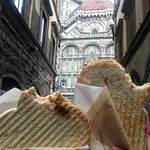 Our big toast sandwich with St.John's Baptistery as the backdrop