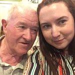Enjoying some music with my grandad.