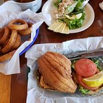 Here is the fried flounder sandwich with onion rings