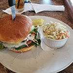 Veggie Burger and slaw