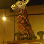 This Giraffe Holds court above the bar area