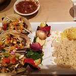 Blue Mesa Shrimp Tacos, with grilled vegetables and rice