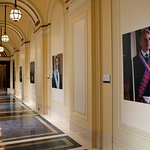 Museum of Freemasonry - Library and museum corridor with temporary exhibition by Laura Gallant
