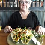Fresh hot fish tacos and side California salad