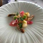 kadayif wrapped prawns with wasabi gel and ginger