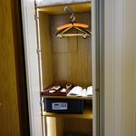 Closet area with robes, slippers, safe, etc.