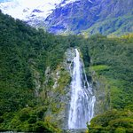 Waterfall from the cruise Milford Sound