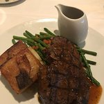 Grilled Grass Fed Filet Mignon Au Gratin Potatoes and Haricot Vert Provençale, Peppercorn Sauce