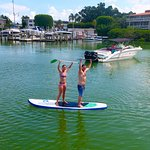 Paddle boarding drone picture