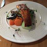 Salmon with a curry glaze, baby bok choy, portobello mushroom , fresh veggies