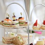 Afternoon tea with finger sandwiches and pastries