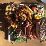 Seafood platter and lemon garden