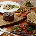 Organic Israel food and aged steak