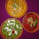 Paneer Palak, Chicken Madras and Kadhai Gosht