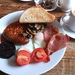 Full English with black pudding and mushrooms.