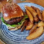 Burger and hand cut chips